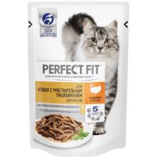Перфект фит (Perfect Fit®) д/ Кошек с чувств. пищ. Пауч 85 гр Индейка