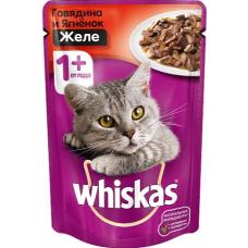Вискас (Whiskas®) д/кошек пауч 85 гр ЖЕЛЕ Говядина/Ягнёнок