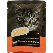 Тэсти (TASTY®) д/кошек пауч 85 гр Говядина